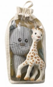 Soft Lazare the Cat & Sophie la girafe Set